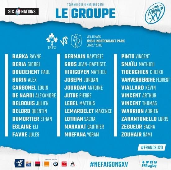 U20 Irlande - France 2019